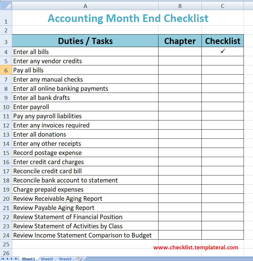 Accounting Month End Checklist Template Excel