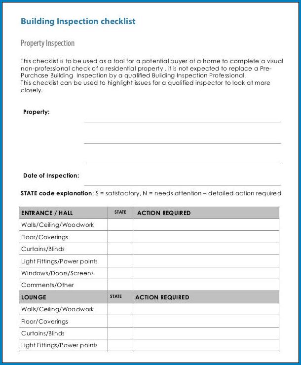 Building Checklist Template Example