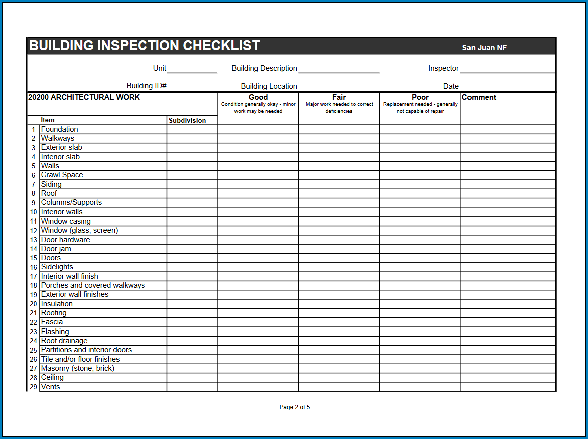 Free Printable Building Inspection Checklist Template
