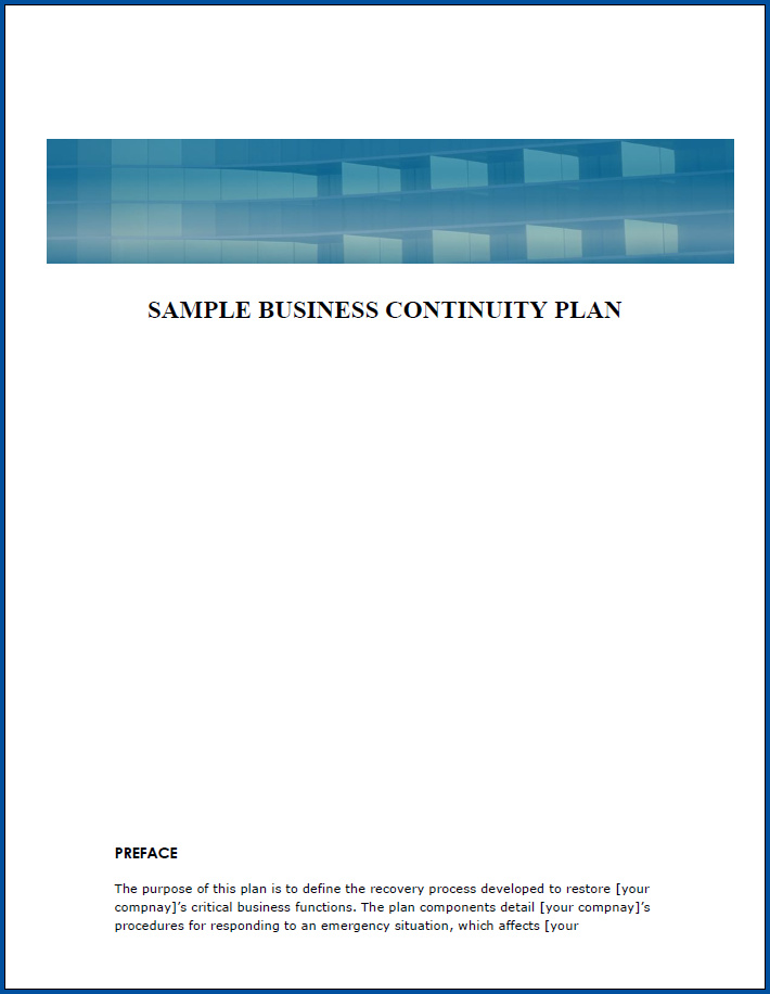 Free Printable Business Continuity Plan Checklist Template