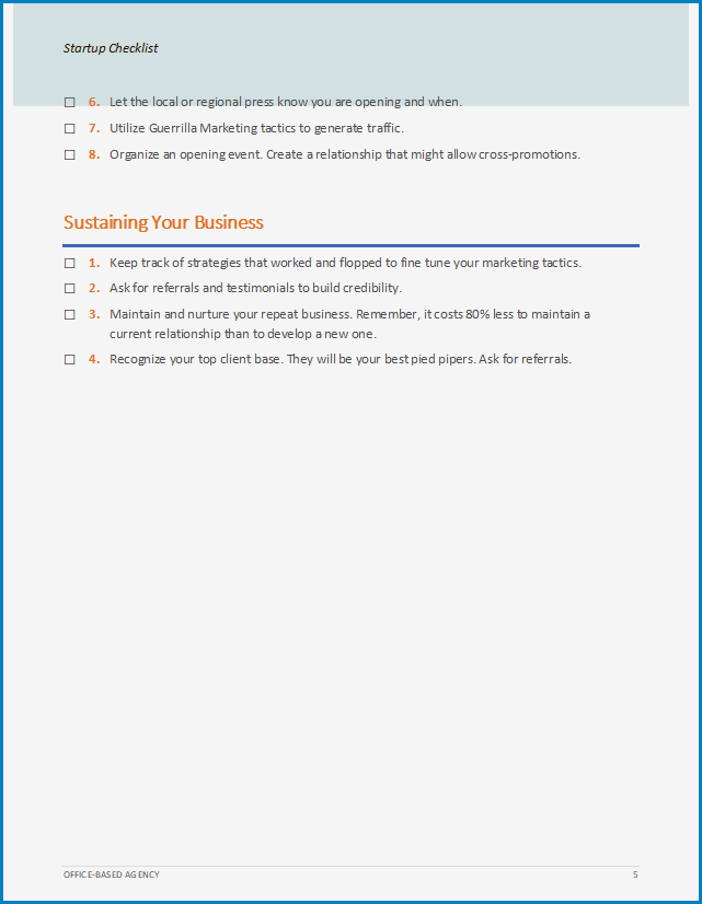 Business Startup Checklist Template Example