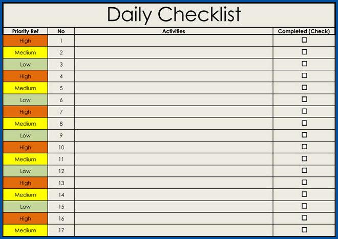 Checklist Templates Example