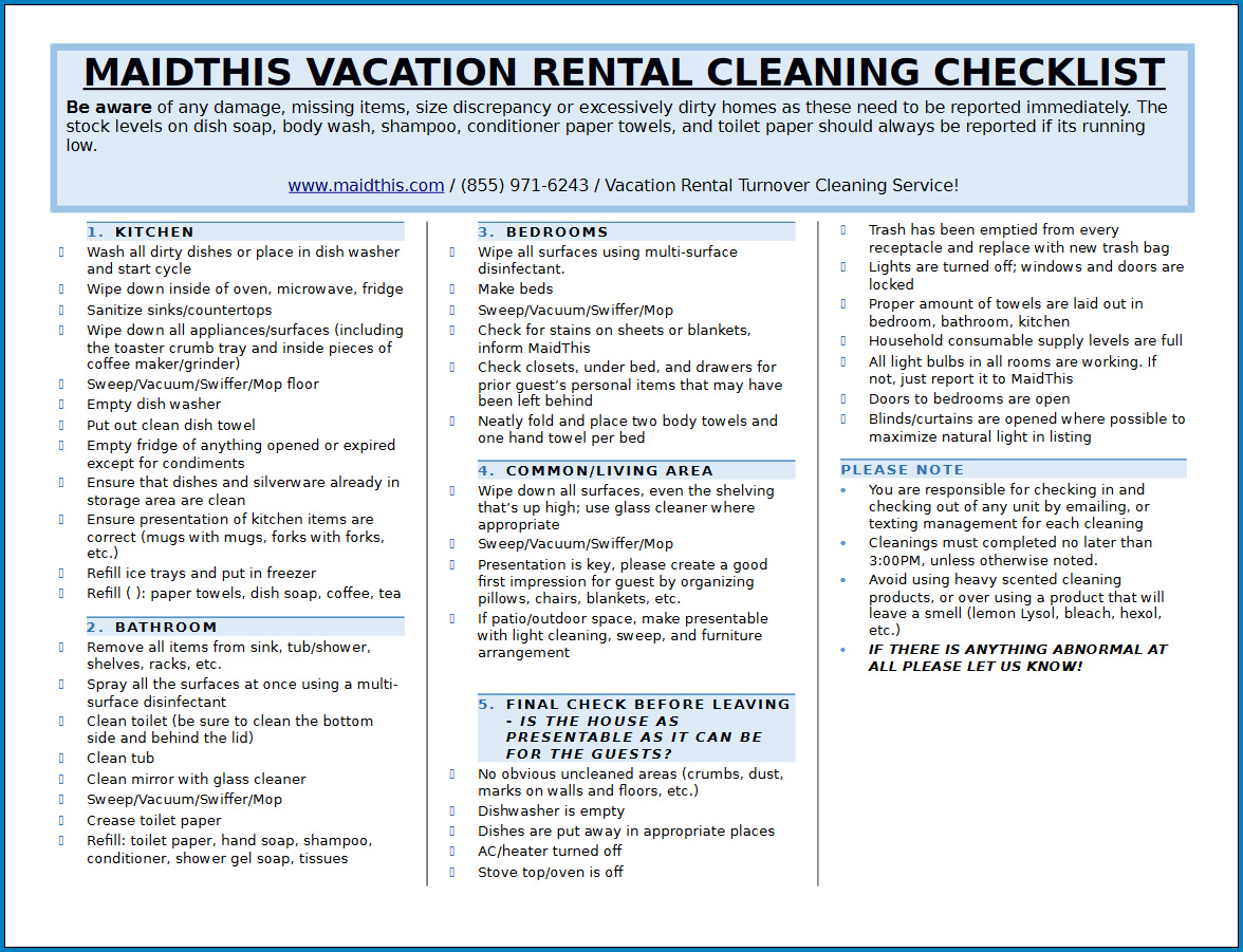 Free Cleaning Checklist Template For Vacation Rental