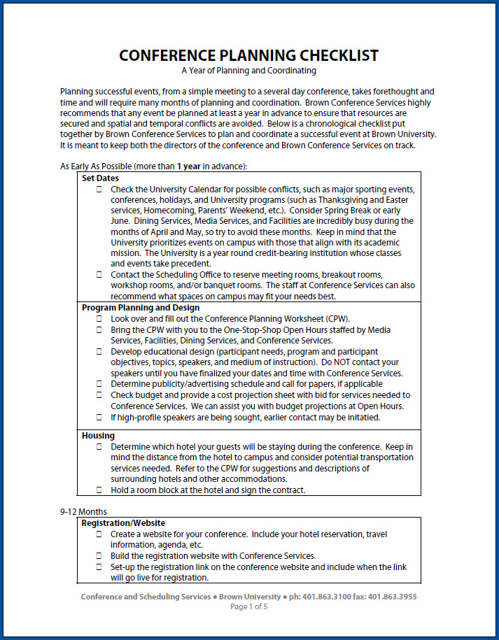 Free Printable Conference Planning Checklist Template