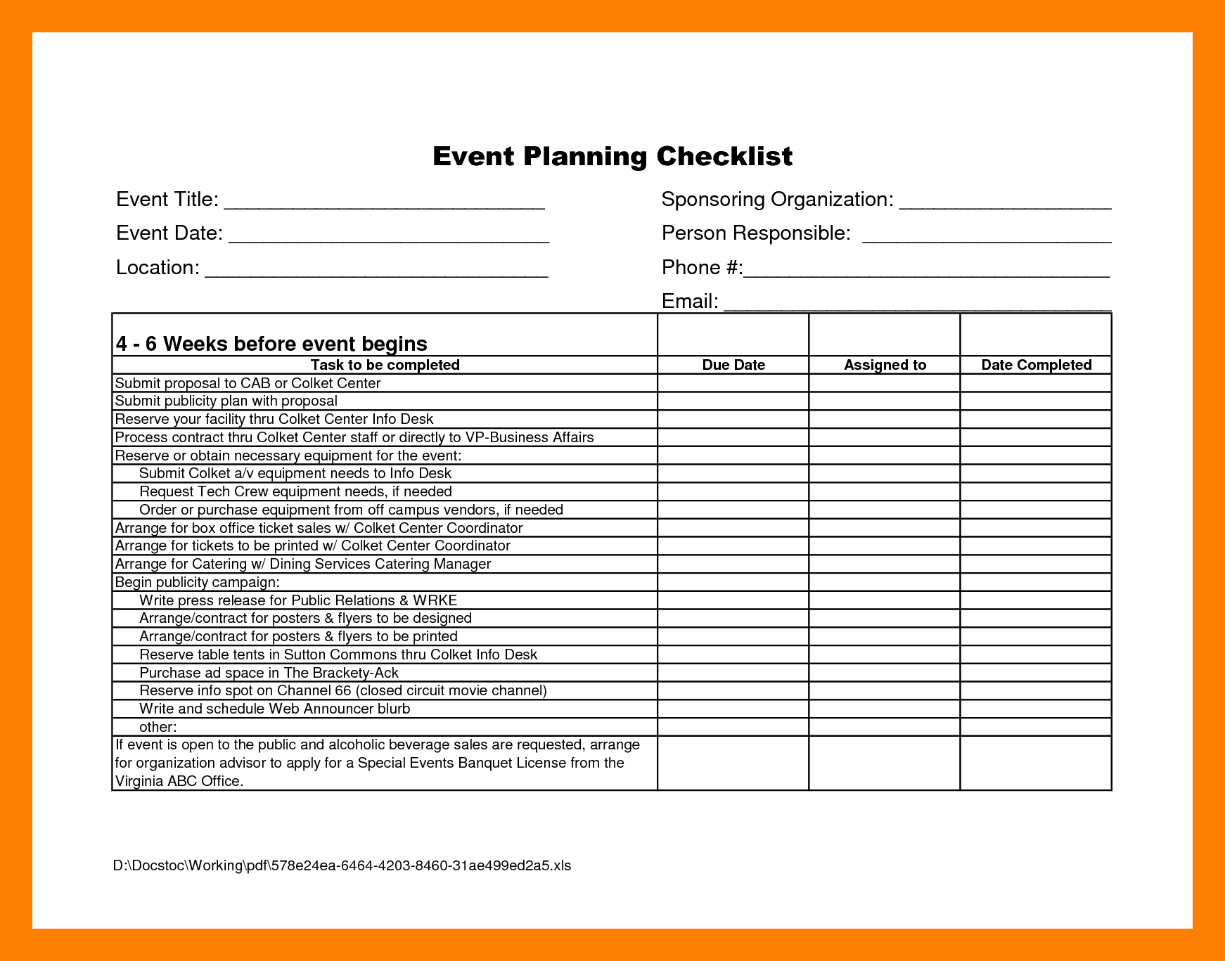 Corporate Event Planning Checklist Template Sample