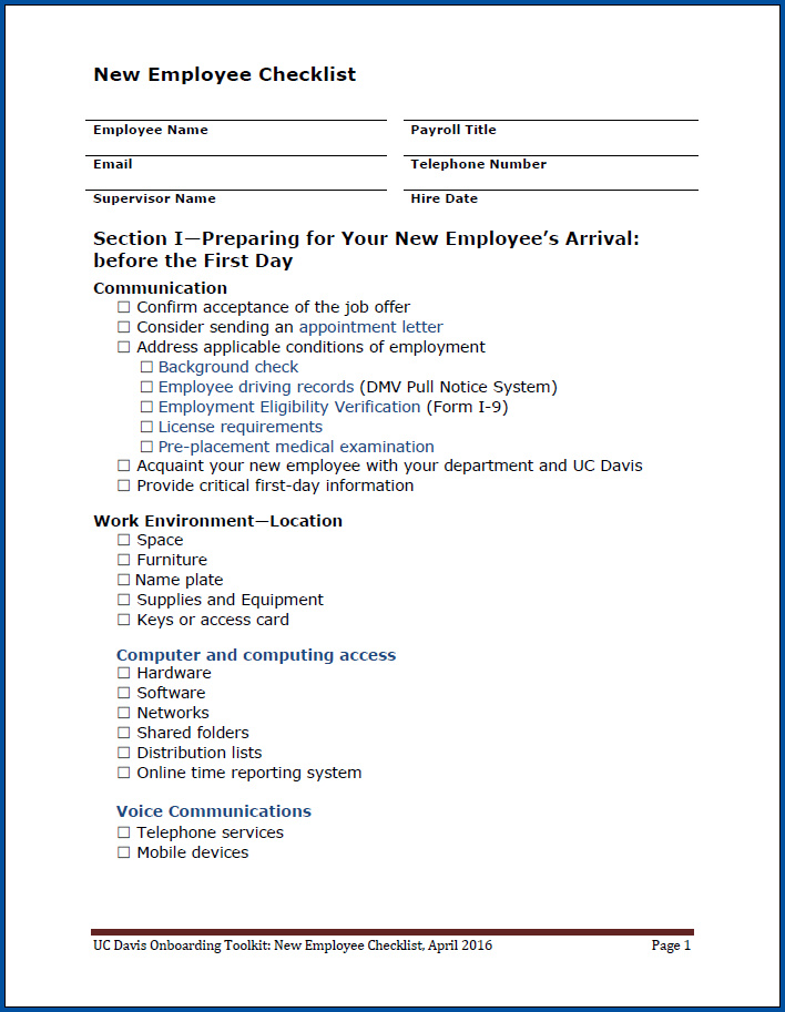 Free Printable Employment Checklist Template