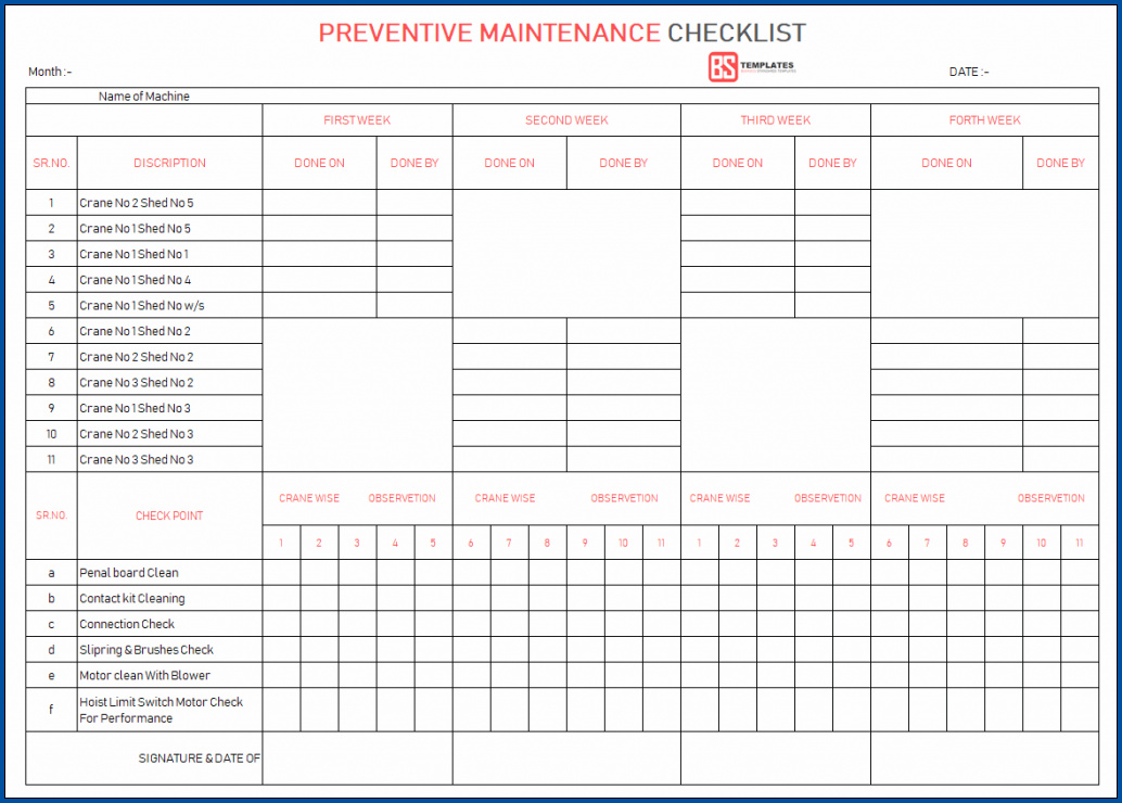 Equipment Preventive Maintenance Checklist Template Sample