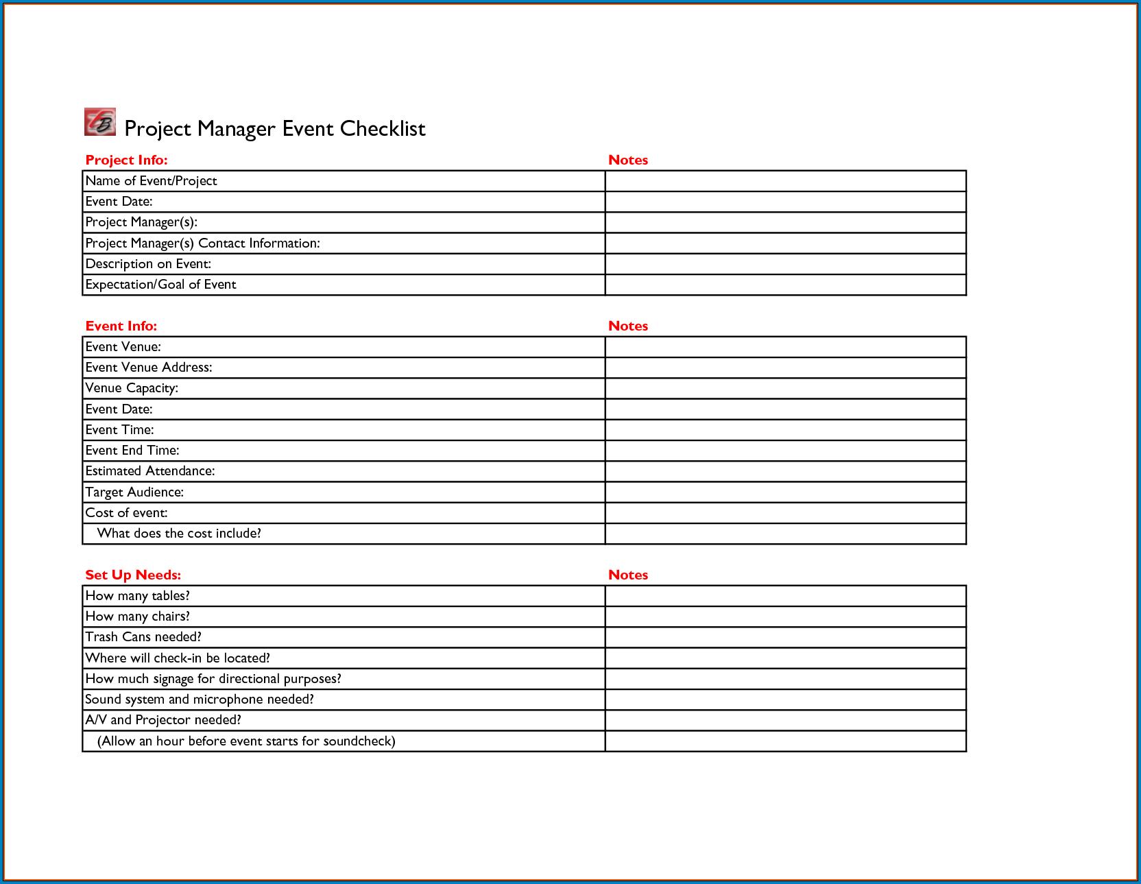 Event Checklist Template Sample