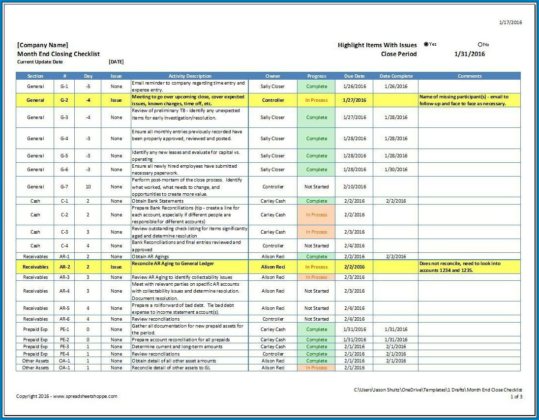 Example of Accounts Payable Checklist Template