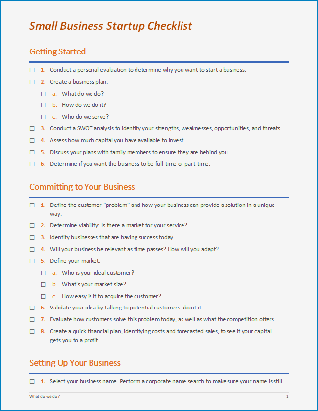 Example of Business Startup Checklist Template