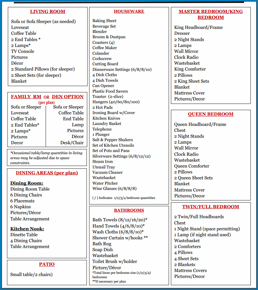 Example of Checklist Template For Vacation Rental