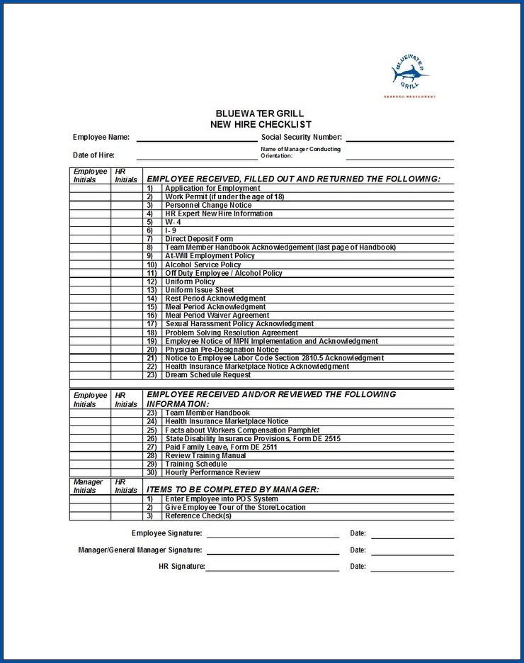 Example of Employment Checklist Template