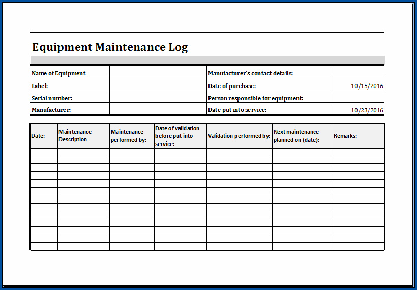 Example of Equipment Preventive Maintenance Checklist Template