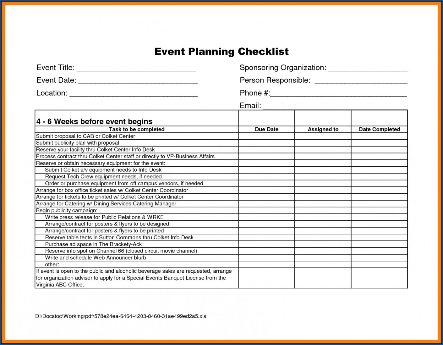 Example of Event Planning Checklist Template