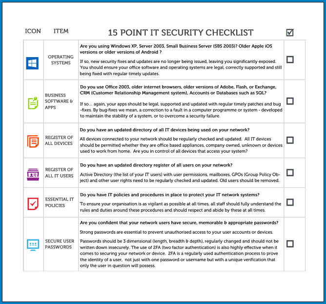 Example of IT Security Checklist Template