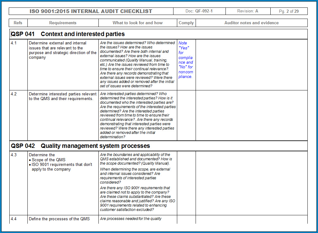 Example of Internal Audit Checklist Template