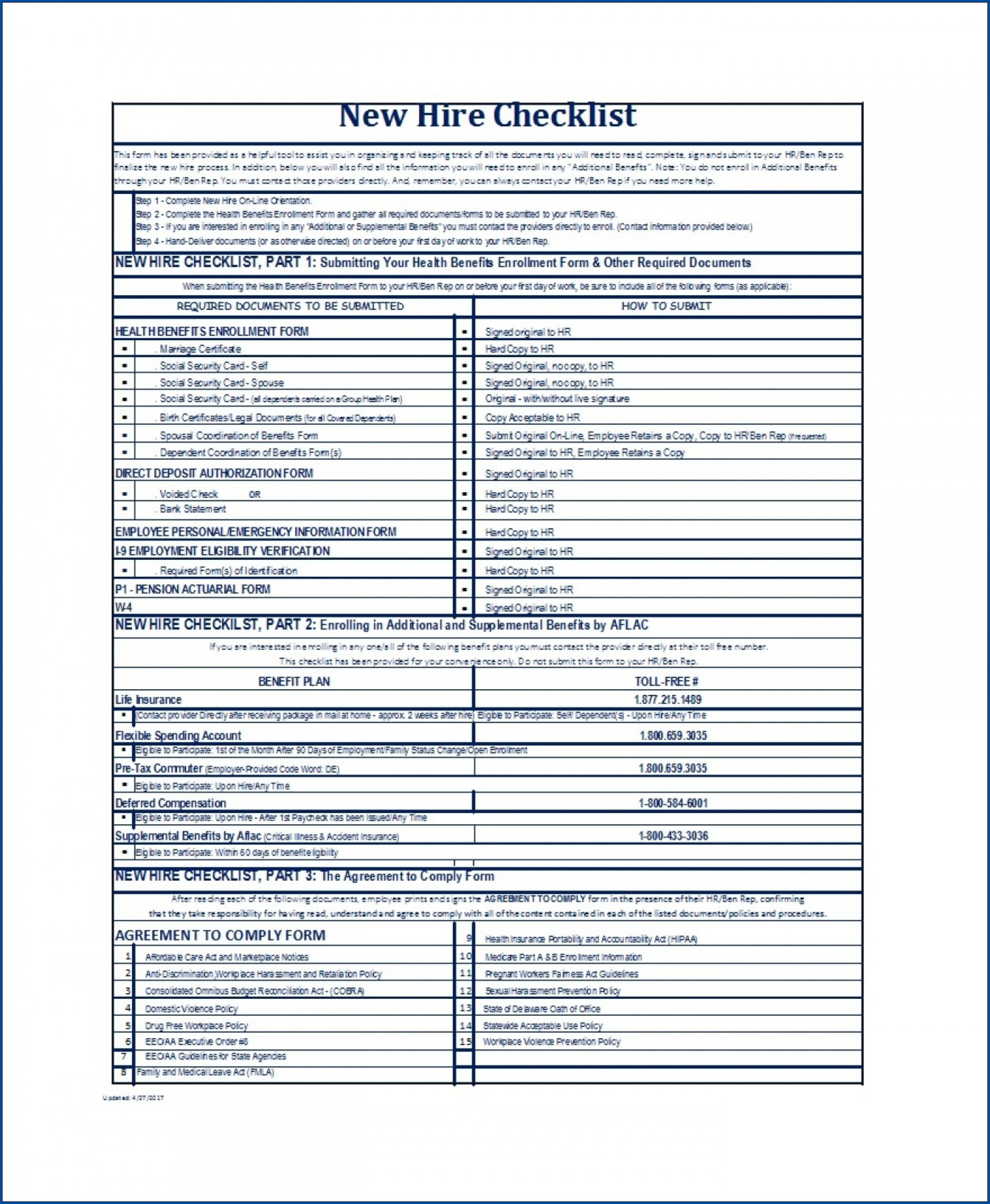 Example of New Hire Employee Checklist Template