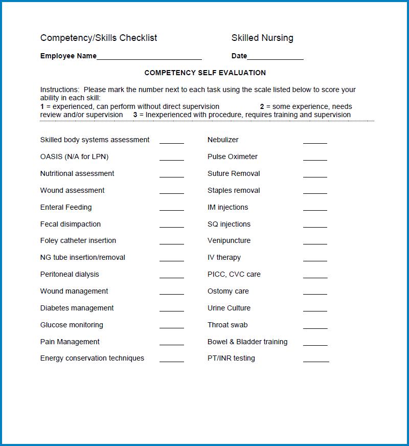 Example of Nurse Skills Checklist Template