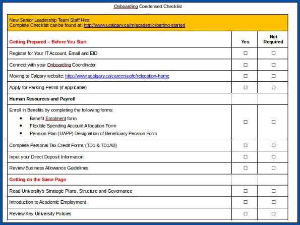 Example of Onboarding Checklist Template