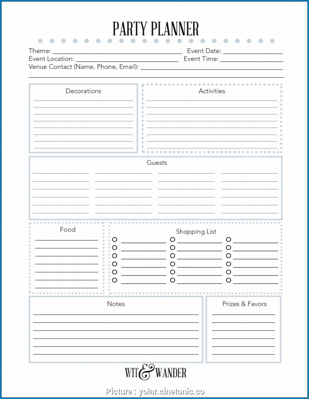 Example of Party Planner Checklist Template