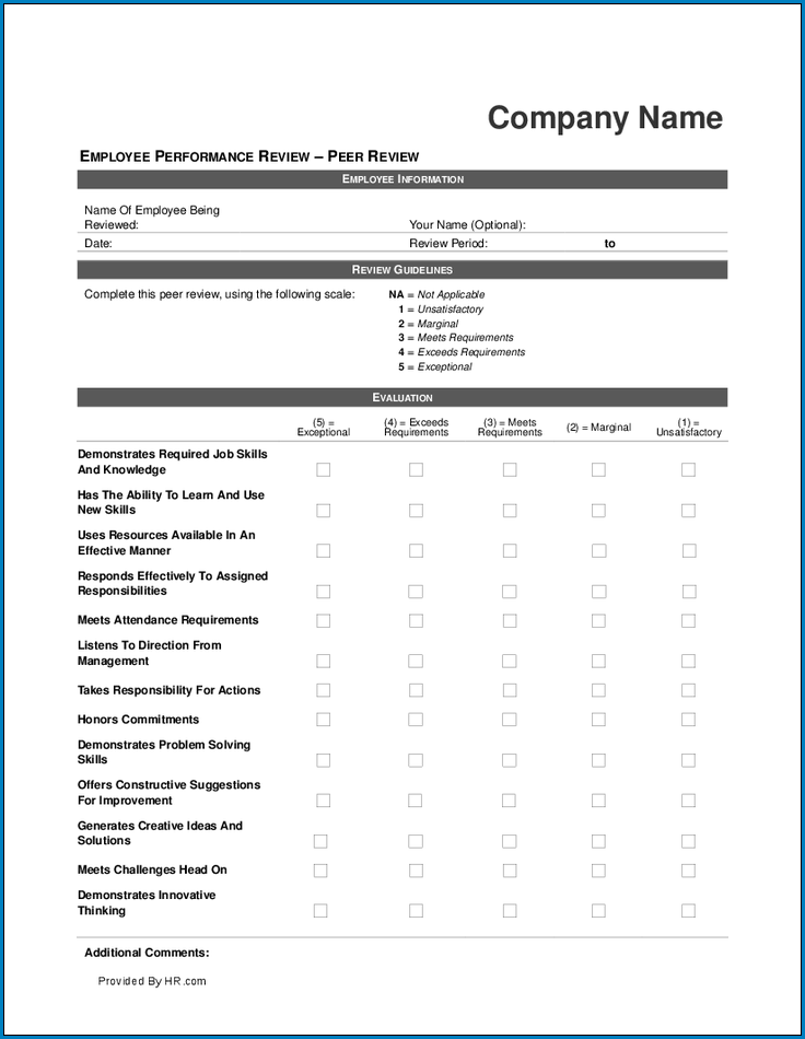 Example of Performance Review Checklist Template