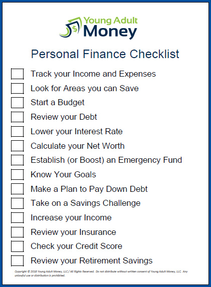 Example of Personal Finance Checklist Template