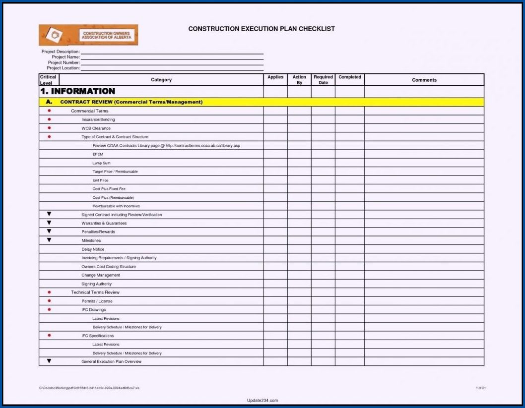 Example of Project Checklist Template