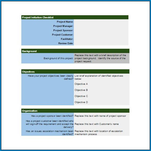Example of Project Initiation Checklist Template