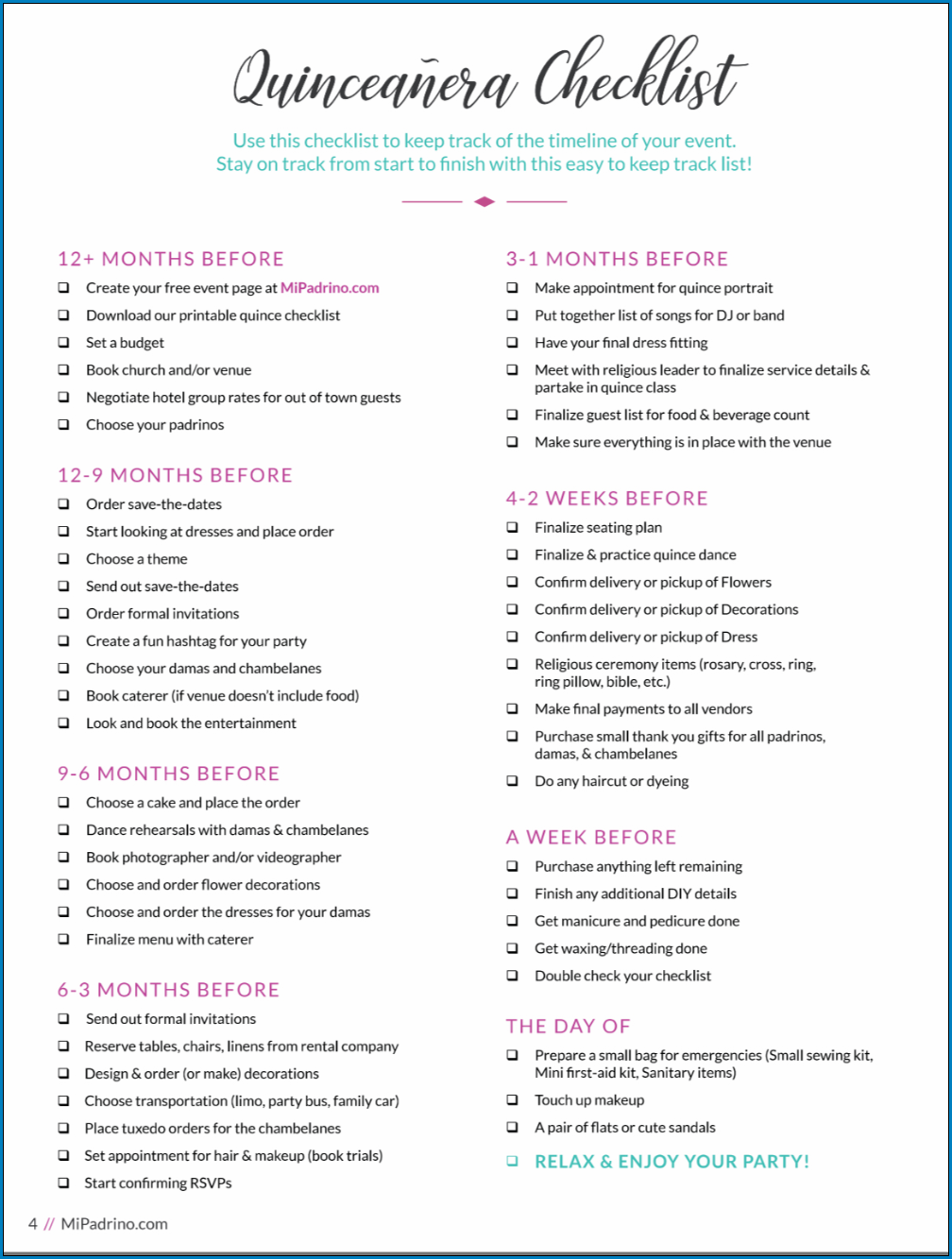 Example of Quinceanera Checklist Template