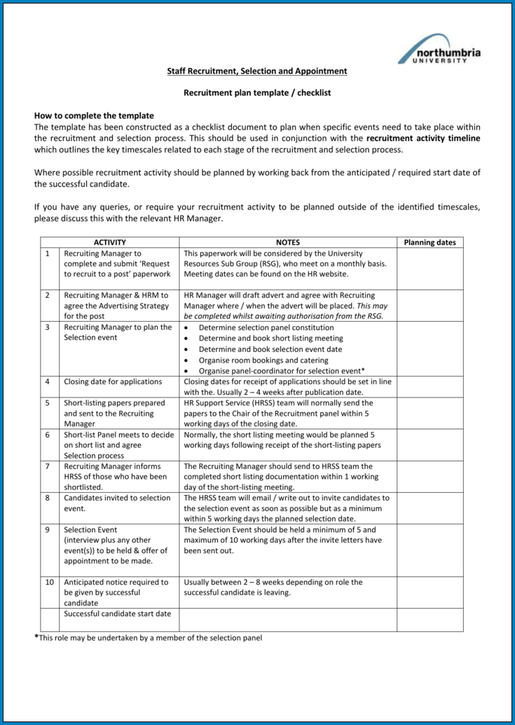 Example of Recruiting Checklist Template