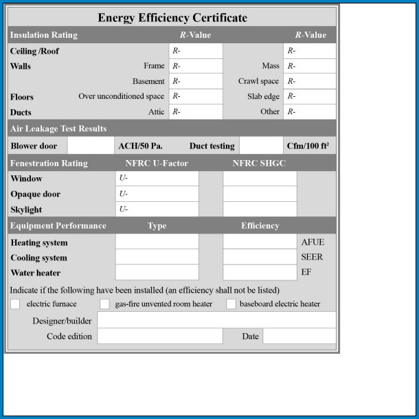 Example of Residential Energy Audit Checklist Template