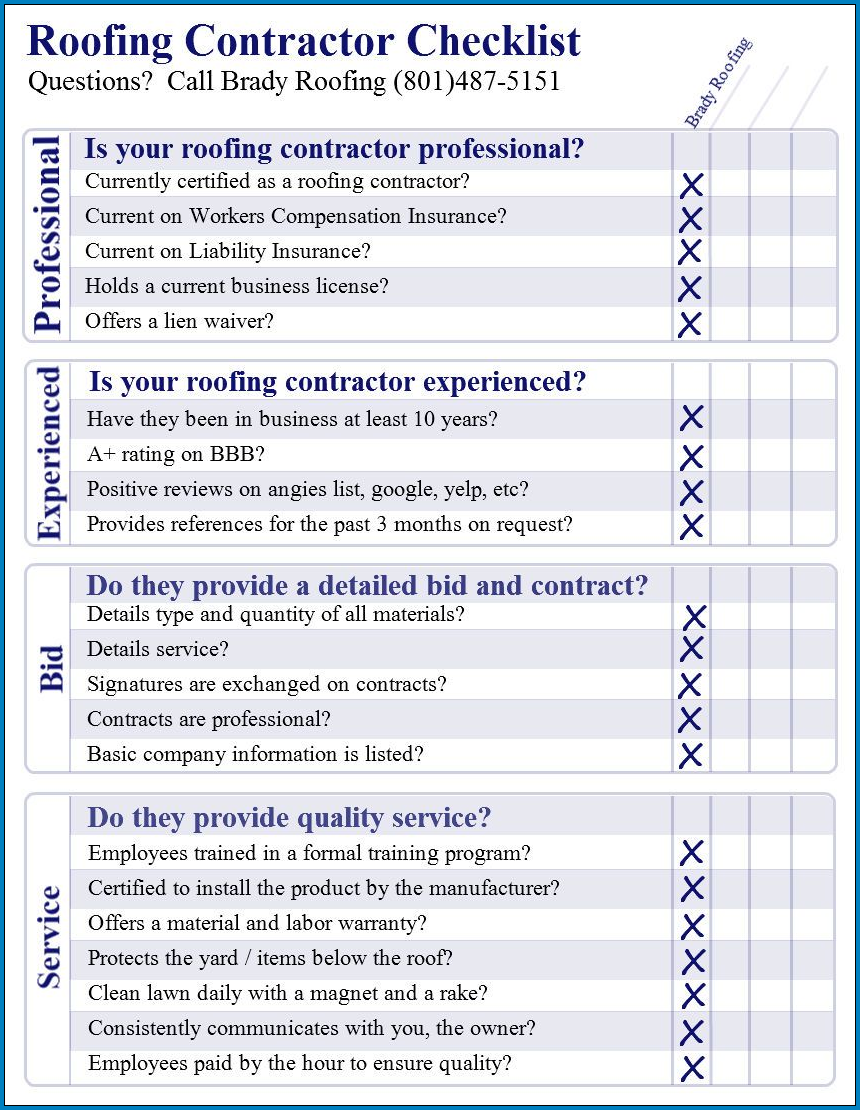 Example of Roofing Checklist Template