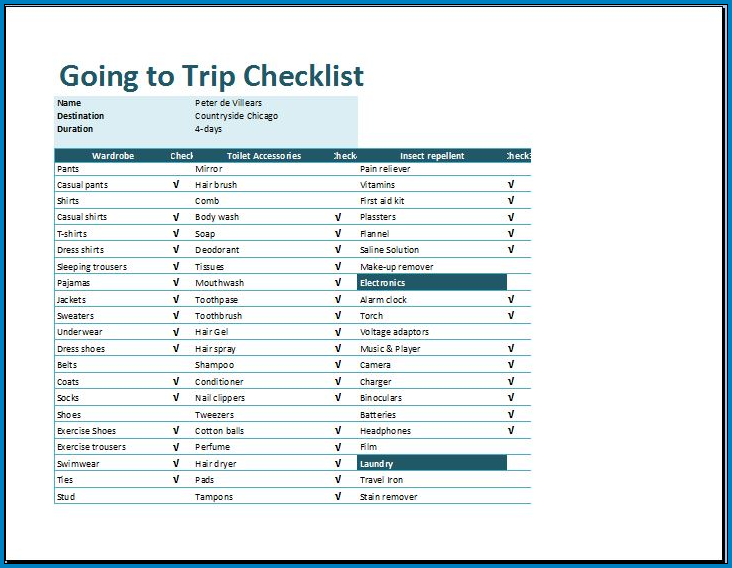 Example of Vacation Checklist Template