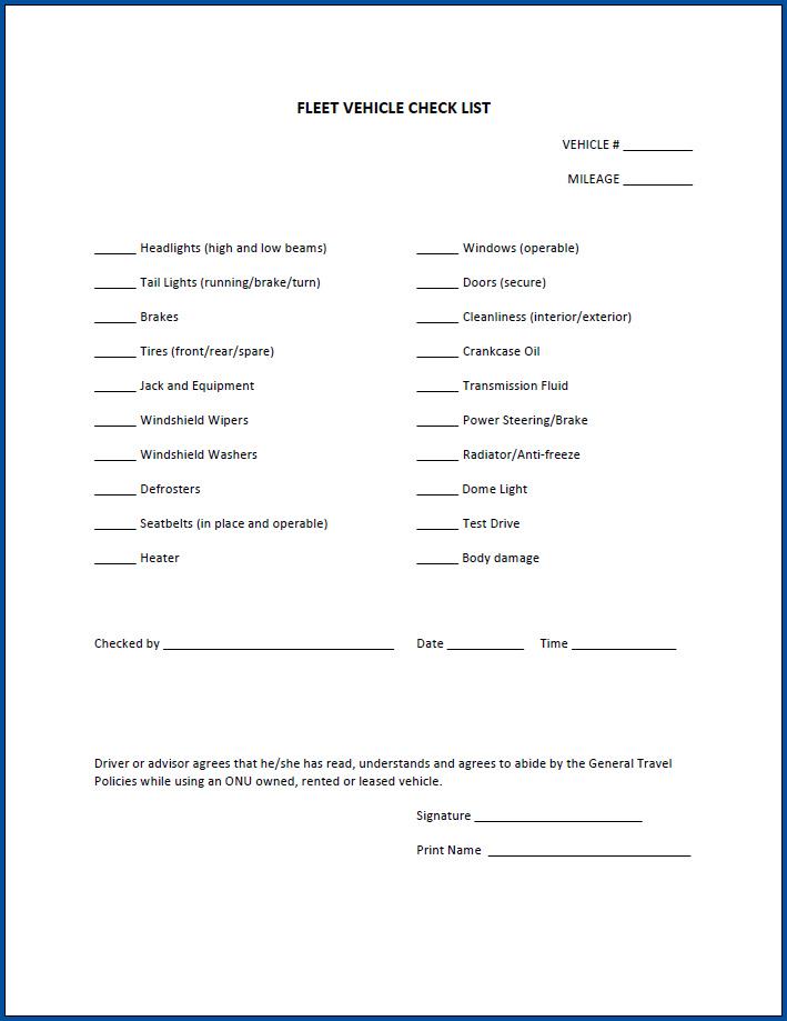 Free Printable Fleet Vehicle Checklist Template