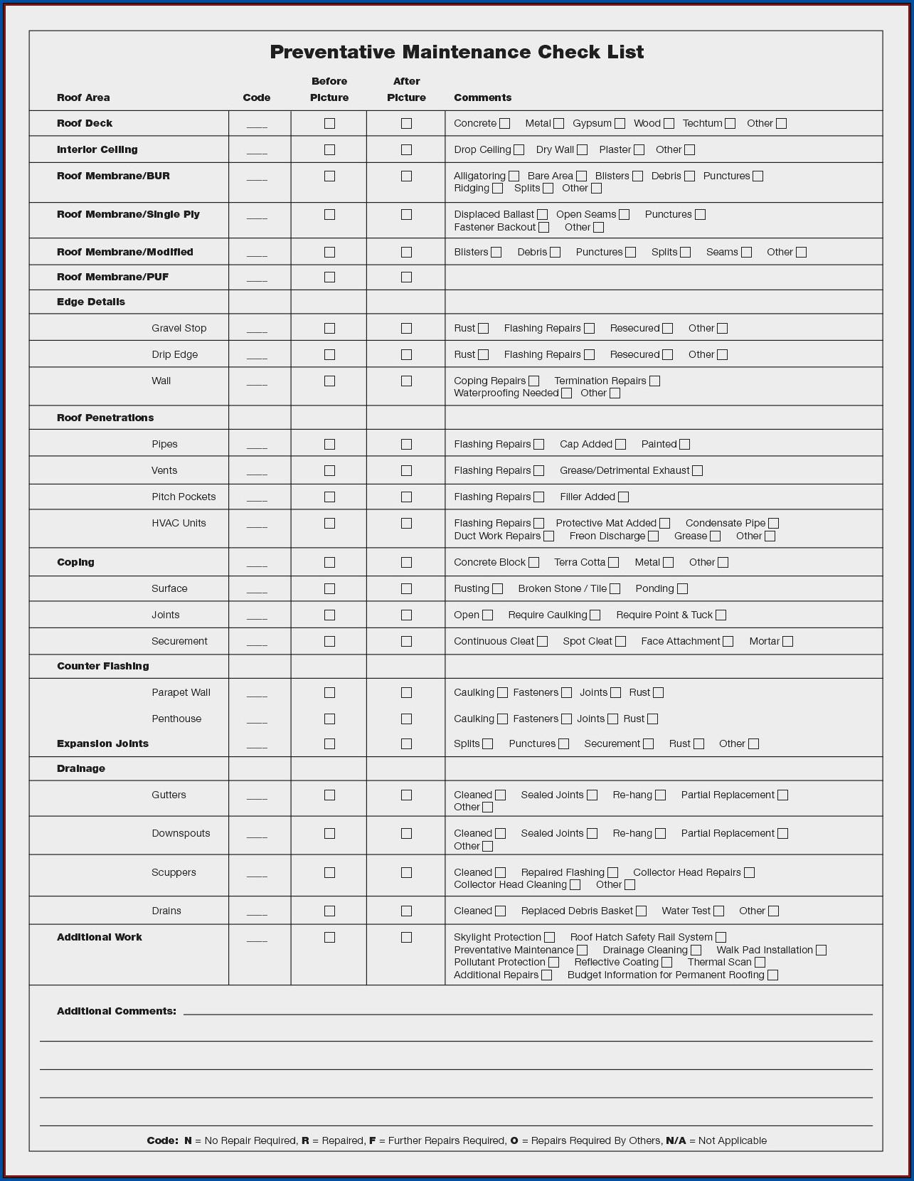 HVAC Maintenance Checklist Template Sample
