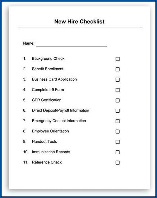 Hiring Checklist Template Example