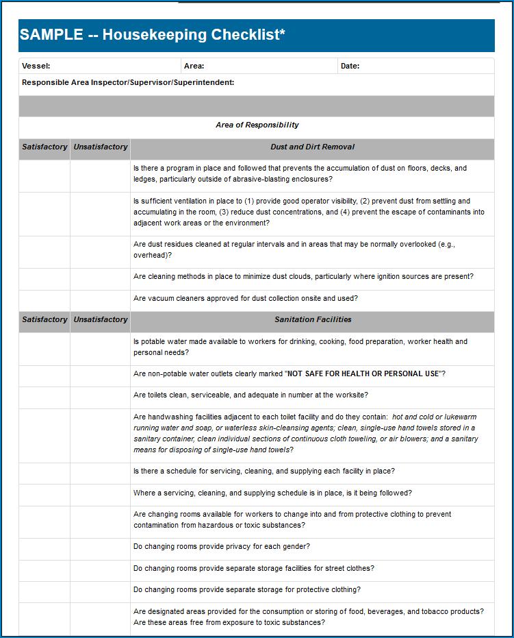 Housekeeping Checklist Template Sample