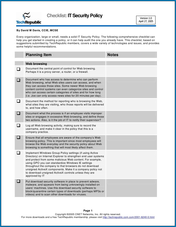 IT Security Checklist Template Sample