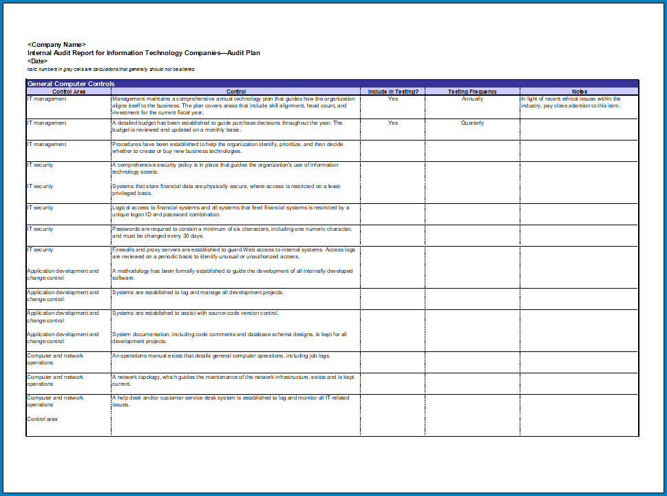 IT Security Checklist Template