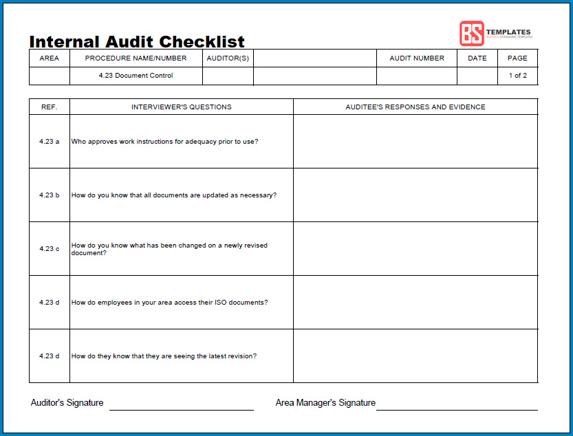 Free Printable Internal Audit Checklist Template Checklist Templates