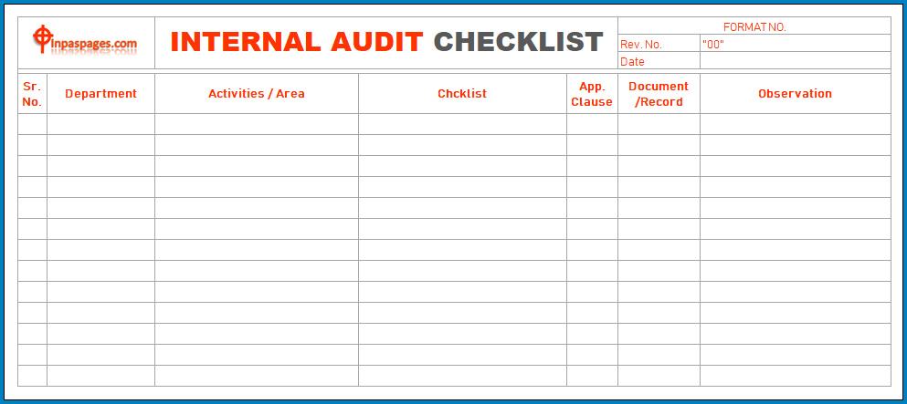 Internal Audit Checklist Template Sample