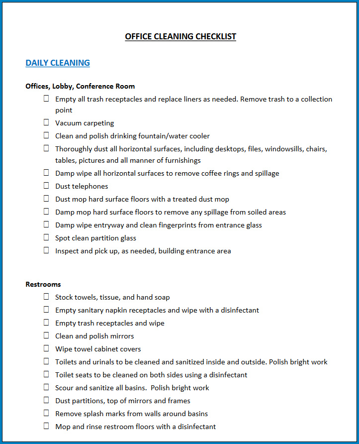 Free Printable Medical Office Cleaning Checklist Template