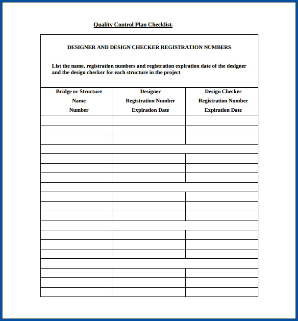 Mortgage Quality Control Checklist Template Sample