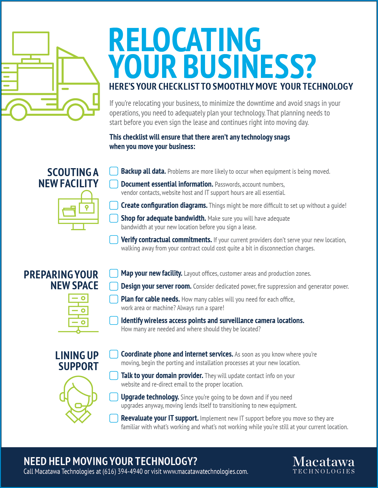 Moving Business Checklist Template Sample