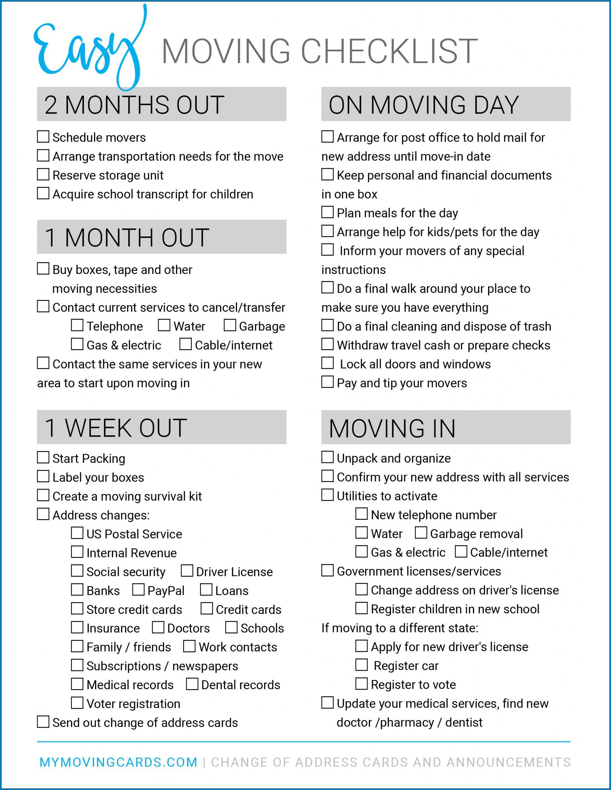Moving Checklist Template Example