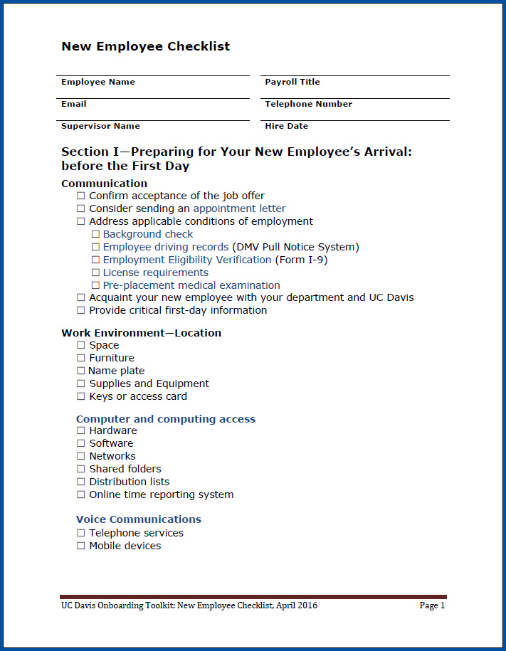 Free Printable New Employee Checklist Template