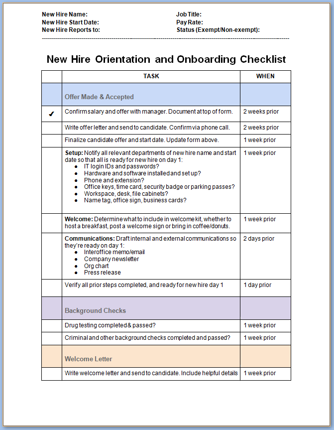 Free Printable New Employee Onboarding Checklist Template