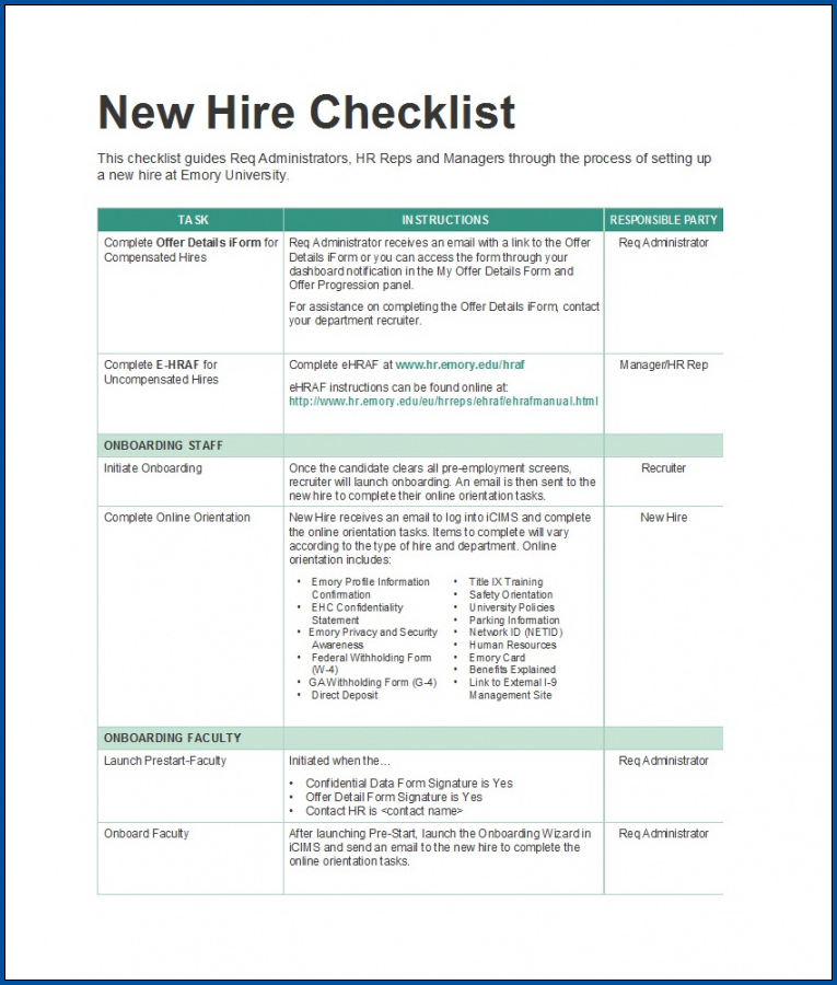 New Hire Employee Checklist Template Sample