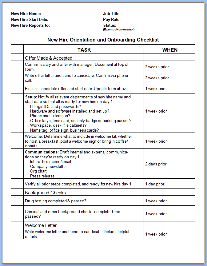 Free Printable New Hire Employee Checklist Template