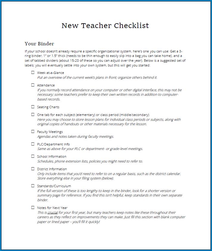 Free Printable New Teacher Checklist Template